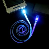 Wholesale 1m ft Smile Face LED Micro USB Data Sync Charger Flat Cable for Samsung Galaxy