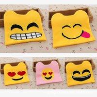 achat en gros de tricot jaune bonnet-Fashion Emoji broderie chauve-chapeau chapeau de laine tricoté chapeaux Funny style coréen automne bonnets d'hiver pour les enfants Enfants Crochet Cuff chapeau jaune