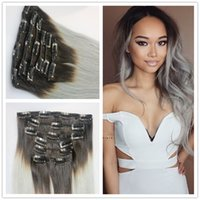 Wholesale 14 quot quot Ombre Brazilian Clip In Human Hair Extension Straight Hair b grey Ombre Clip In Hair Extensions Full Head