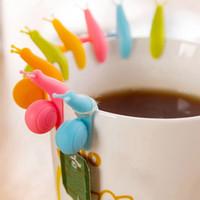 Wholesale 6 Colors to choose Cute Snail Shape Silicone Tea Bag Holder Cup Mug Candy Colors Gift Set GOOD Tea Tools tea infuser