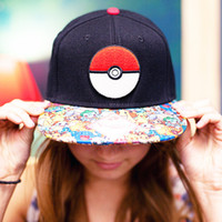 Wholesale Cute POKE hat baseball cap Anime POKE Pikachu Flat Hat Hip hop hat floral print Baseball Cap Hip hop Hats for Men Women