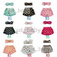 Wholesale 9colors Kids polka dot shorts girl tassel short pants headbands set kids Pom Pom shorts leopard polka dot outfits