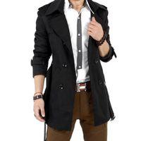 Wholesale Fall EAS Autumn Trench Coat Men Double Breasted Trench Coat Men Outerwear Casual Coat Men s Jacket Windbreaker Mens Trench Coat
