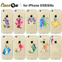 beautiful watercolor - Amazing Beautiful Watercolor Art Designs Transparent Soft TPU Case For iPhone s S Cinderella Snow White Tinker Bell Case