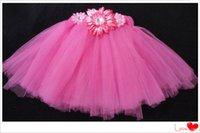 Wholesale Cute Baby Girls Tulle Tutu Skirt Kids Handmade Fluffy Ballet Pettiskirt with Daisy Flowers Children Party Tutus Free Ship
