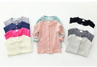 Wholesale 2016 Spring Summer Brand New Baby Kids For Boys And Girls Solid Cotton Cardigan With Pattern Buttom Fashion Casual Style Seven Colors
