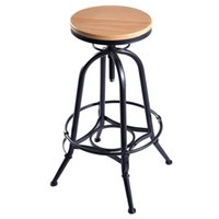 bar stool designs - New Vintage Bar Stool Industrial Metal Design Wood Top Adjustable Height Swivel