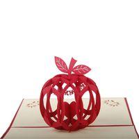 apple post card - pieces D Handmade Pop Up Greeting Cards Paper Card Cutout Sculpture Merry Christmas Apple Gift Cards Souvenir Crafts