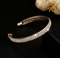 Wholesale Crystal Rhinestone Bangle Cuff Bracelet Jewelry Golden Silver Color Fashion Style Luxury Row Rhinestone Bracelet High Quality