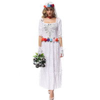 anime bride - Halloween party women costume Gothic Vampire Ghost Bride Costumes For Women lace white Zombie dress Cosplay Adult Funny Dress