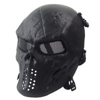 Wholesale Halloween Black Full Tactical Skull Skull Airsoft Mask Outdoor Paintball facemask Skeleton Skull Face Protection Tactical Masks