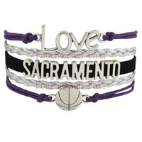 basketball sacramento - Custom Infinity Love SACRAMENTO Basketball Team Fans Bracelet Leather Wrap Wristband friendship Adjustable Bracelet Bangles Drop Shipping