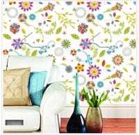 bathroom tile patterns - Colored flower pattern tile bedside bedroom bathroom closet living room wallpaper TV background decorative wall
