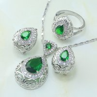 Wholesale Silver Plated Zinc Alloy Tray Artificial Cubic Zirconia Green Main Stone Drop Shape Pop Women Wedding Jewelry Set S185
