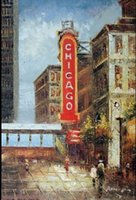 art stations - Chicago Theater Landmark El Station State Street Pure Handicrafts Scenery Building Art oil painting High Quality Canvas in custom sizes