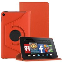 best case for amazon kindle - For Amazon Kindle Fire Model Rotating Leather Case Cover Stand Orange best case for tablet tablet protection cover