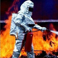 aluminized suits - New Degree Thermal Radiation Heat Resistant aluminized rescue fire fighting approach suit bunker firefighter uniform Fireproof Clothes