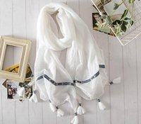 Wholesale HWJ2013 National Wind scarf Fashion Wild Solid Color Tie dye Scarves Fringed Shawl Sunscreen White Black x180cm pcslot Free Ship