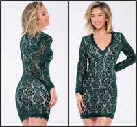 Wholesale Slim Cocktail Dresses - Homecoming Dresses Cheap Green Lace Long Sleeves V Neck Sheath Slim Cocktail Party Wear Short Mini Prom Dress Free Charming