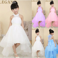 Wholesale 2016 New Style Elegant Girls Dresses Girls Wedding dresses Asymmetrical Floor Length Princess dressess White Blue Pink Purple Solid dresses