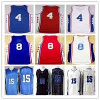 Wholesale Newest Men Nerlens Noel Jerseys Jahlil Okafor Rev New Material Home Road Away Red Blue White Jerseys Best Quality Free Shipp