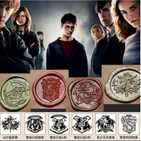 Wholesale 6 style Vintage Creative Wax Seal Stamp Harry Potter Hogwarts Single stamp set personal DIY stamp School Supplies nice stamp gift