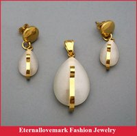 Wholesale Fashion gold plated stainless steel jewelry sets latest design pendant and earrings for women and girl