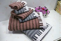 Wholesale size cotton sports soft absorbent beach Piano keyboard lovers creative towel piano musical notes washcloth bath towel
