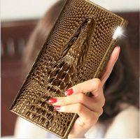 Wholesale Ms crocodile grain leather long purse Leather wallet batch of invoice The crocodile head bag wallet card