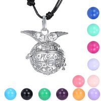 adjustable angle plate - Angle Wing Women Pregnancy Chime Ball Necklace Baby Hollow Cage Bell Locket Adjustable length Rope Chain Necklace
