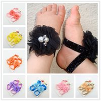 Wholesale Shabby Headband Foot Flower - Baby Headband Feet bands Accessories Photography 7 Colors Hair Accessories foot set Shabby Chic Flowers