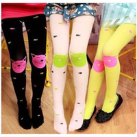 Cheap Autumn Children Girls Tights Velvet Candy Colors Cute Cat Fish Tights For Baby Kids Girls Pantyhose Stocking
