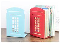 bathroom telephone - 45set set Modern metal book shelf Classical London Street Red Telephone Booth Design bookshelf for home decoration ZA0592
