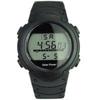 auto el backlight - Unisex Solar Power and Li ion Battery Digital Watch with Functions of Calendar EL Backlight Snooze Alarm Stopwatch Black