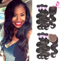 Wholesale Brazilan Virgin Hair Body wave Grade a bundles closure Lace Closure Natural black Peruvian hair Human hair weave