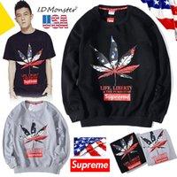 american flag hoodie - Hight quality New sweatshirt round neck long sleeved HIP HOP street hoodies American flag Sweatshirts