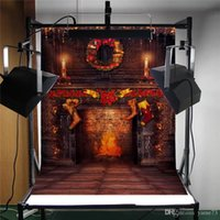 Wholesale Yame x7ft Vinyl Digital Christmas Fireplace Socks Red Candle Photography Studio Backdrop Background