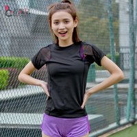 Wholesale Top quality gym women sport shirts Dry Quick Breathable short sleeve T shirts Hollow mesh women s running amp tennis fitness tops