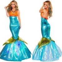 Wholesale 2016 Adult New Dress Mermaid Costumes Halloween Cosplay Dress Romantic Beauty Dress Sea Maid Dress Woman Cosplay A5601