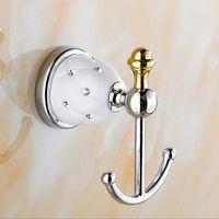 bathroom decorative accessory - European Style Solid Brass Diamond Metal Coat Hooks Decorative Wall Hooks Clothes Hook Bathroom Accessories