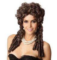 belle wigs - Most Popular Halloween Princess Belle Costume Wig Sexy Long Curly Wigs New Style Brown Curly Hair Wig FH038