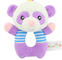 Wholesale Baby Toys purple Coon Rattle Tinkle Hand Bell Multifunctional Animals Plush Toy Stroller for infant child gift