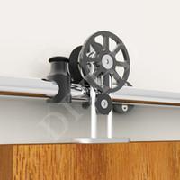 Wholesale 5 ft Black White Spoke wheel hanger stainless steel top mounted single double sliding barn wood door hardware