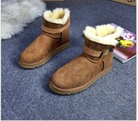 belle boots - Winter white boots snow boots the outdoor leisure short boots the new mini belle bowknot of chestnut