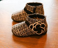 baby boots pattern - Black plaid pattern zipper baby warm boots yards winter camellia princess non slip bottom girl casual single walking boots LY