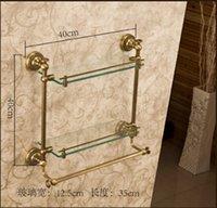 antique shelf brackets - Wall Mount Bathroom Glass Shelf Antique Brass Dual Tier Cosmetic Bracket Holder