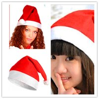 Christmas Party Decorations Hat Free shipping 1200pcs Christmas Hat Caps Non-woven Fabric Hat Santa Claus Father Cotton Cap Christmas Gift Hats