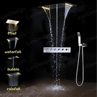 Wholesale Unique Design stainless steel chrome finished rectangular function rainfall waterfall water column misty led light shower