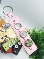 Wholesale Mixed Sale PU leather Snap Keychains Jewelry for charms jewelry colors for choice Snap Button Keychains Fit mm Snap Buttons Jewelry