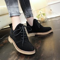 Wholesale 2016 Martin boots winter shoes Anti non slip wear new British style black boots leather stitching retro round thick bottom fashion shoes